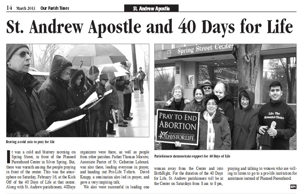 Our Parish Times.March 2013.SAA Pro-Life